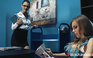 Superb oral pleasures during a spicy lesbian office tryout