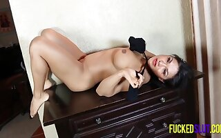 Voluptuous Latin Goddess Posing In Sexy Stockings