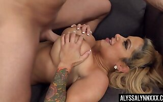 Hardcore fucking with busty trophy join in matrimony Alyssa Lynn ends with cum essentially tits