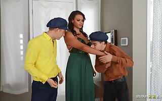 Beautiful give a thought to Halle Hayes has fun with two boys at once