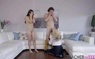 Strong cock for both the naked teen and her mom