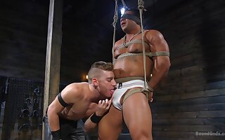 Kinky dungeon gay bondage fetish session with mature guys
