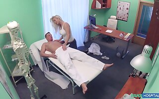 Handsome dude gets her penis pleased by a horny lady doctor