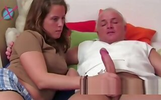 Young german wife gives a nice soft handjob to her old husband's cock !