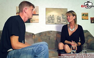 German mature old mother woman seduced younger laddie guy