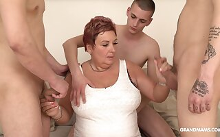 Wealthy aged woman pays for gangbang with three young guys